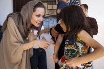 UNHCR Special Envoy Angelina Jolie meets Syrian refugees in the Bekaa Valley, Lebanon in September in this UNHCR handout photo.