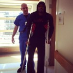 Kevin Ware on Crutches
