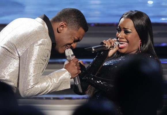 "Fantasia Barrino performs with Joshua Ledet during the 11th season finale of ""American Idol"" in Los Angeles, California, May 23, 2012"