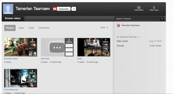 bombing suspect youtube page
