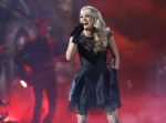 "Carrie Underwood performs ""Two Black Cadillacs"" at the 48th ACM Awards in Las Vegas, April 7, 2013."