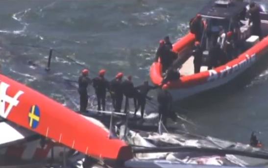 'America's Cup' Boat Capsized