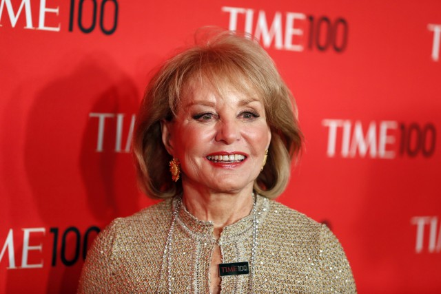 Journalist Barbara Walters arrives for the Time 100 gala celebrating the magazine's naming of the 100 most influential people in the world for the past year, in New York, April 23, 2013.