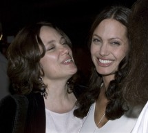 "Actress Angelina Jolie (R) and her mother Marcheline Bertrand pose together at the premiere of Jolie's film ""Original Sin"" in Hollywood in this July 31, 2001 file photo."