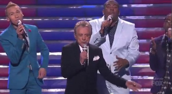 Music legend Frankie Valli teamed up with American Idol Top 5 guys Burnell Taylor, Devin Velez, Paul Jolley, Lazaro Arbos, and Curtis Finch Jr. to perform a medley of Valli's classics with contemporar