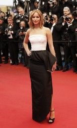 Actress Jennifer Lawrence poses on the red carpet as she arrives for the screening of the film &#039;Jimmy P.&#039; (Psychotherapy of a Plains Indian) in competition at the 66th Cannes Film Festival in Cannes M