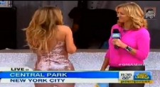 Mariah Carey's dress ripping on stage at the Good Morning America stage in Central Park, New York City, May 24, 2013.