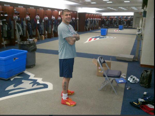 Aaron Hernandez in the New England Patriots locker room