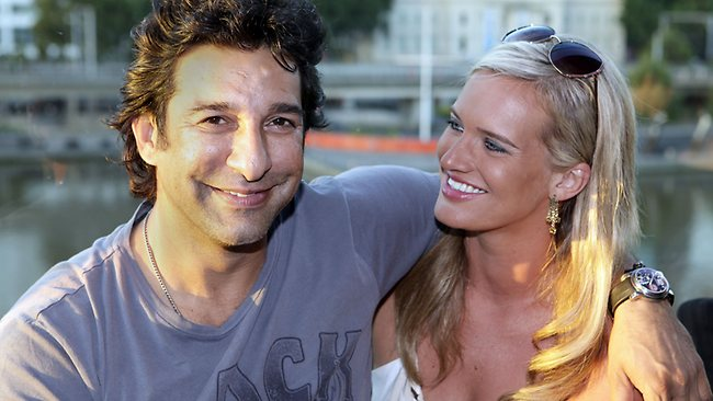 Wasim Akram with hot, cute, sweet, Wife Shaniera Thompson