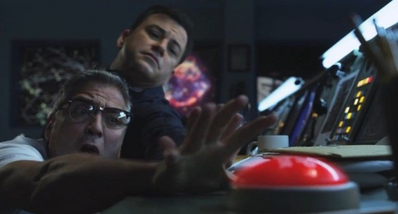 Photo Credit: ABC - George Clooney (left) and Jimmy Kimmel are shown during a scene to the spoof trailer 'Movie: The Movie.'