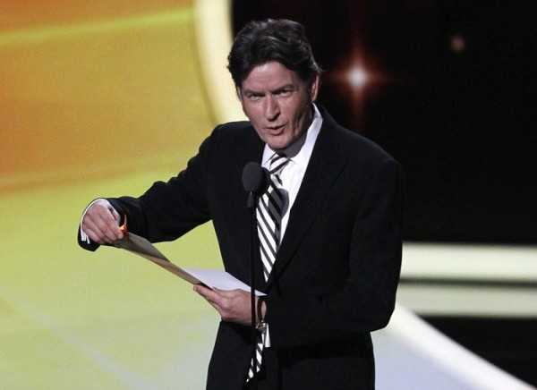 Photo Credit: Mario Anzuoni/Reuters - Presenter Charlie Sheen announces the winner of the award for outstanding lead actor in a comedy series to actor Jim Parsons for television series ''The Big Bang Theory&#039