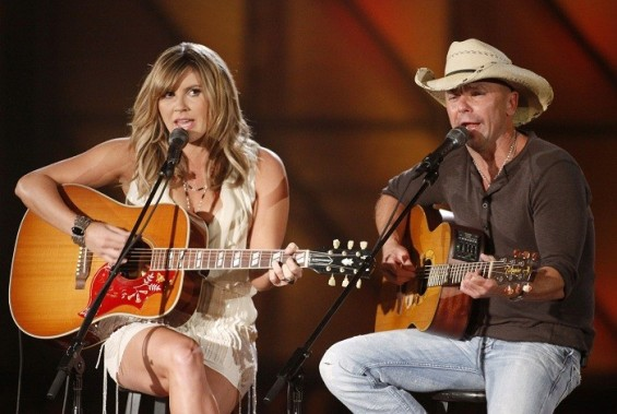 "Photo Credit: Reuters - Kenny Chesney and Grace Potter perform ""You & Tequila"" at the 45th Country Music Association Awards in Nashville, Tennessee, November 9, 2011."