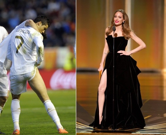 Photo Credit:  Left/Vincent West/Reuters, Right/Michael Yada/AMPAS - Angelina Jolie at the Academy Awards on Feb 26, 2012 - Real Madrid's Cristiano Ronaldo celebrates a goal on March 31, 2012.