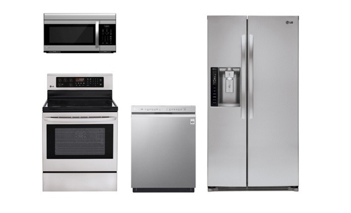 4 Piece Kitchen package With Gas Range, Microwave Oven, French Door Refrigerator and Built In Dishwasher In Stainless Steel by LG