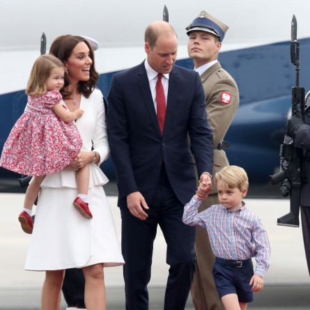 Catherine, Duchess of Cambridge and Prince William, Duke of Cambridge with their children Princess Charlotte of Cambridge and Prince George of Cambridge