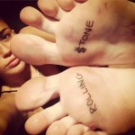Miley Cyrus feet tattoos