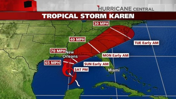 Tropical Storm Karen Projected Path Map