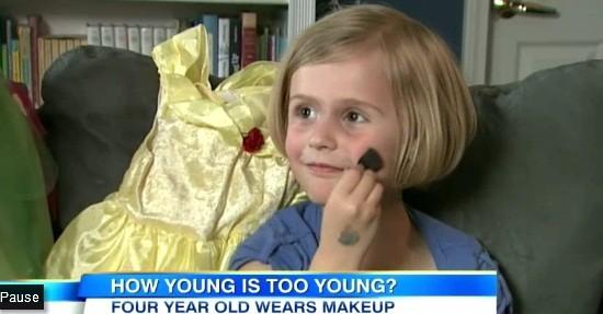 Toddler Wearing Makeup Stirs