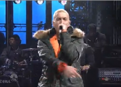 Eminem performing on Saturday Night Live