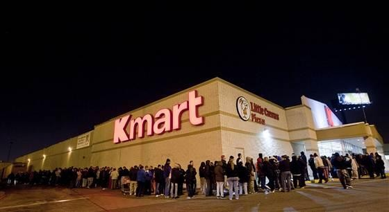 Shoppers Lined Up Outside of a K-Mart Store on Black Friday