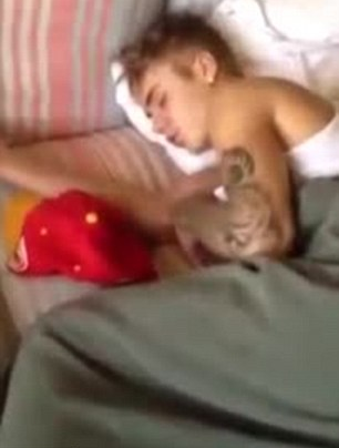 Justin Bieber sleeping video