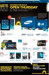 Best Buy Black Friday Ad 2013. Stores Open 6 p.m. Thanksgiving Night.