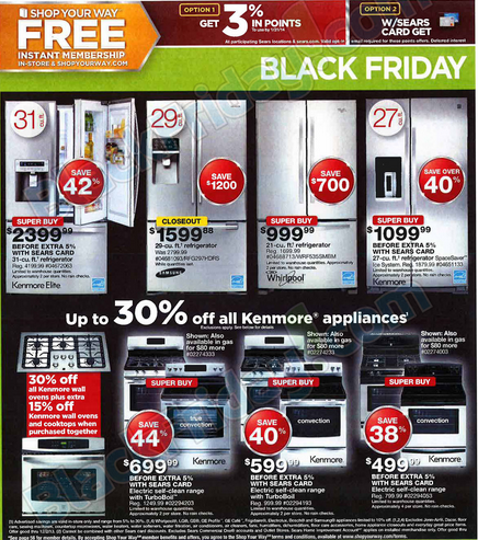 Sears Black Friday Ad 2013. Sale Begins 8 p.m. thanksgiving night