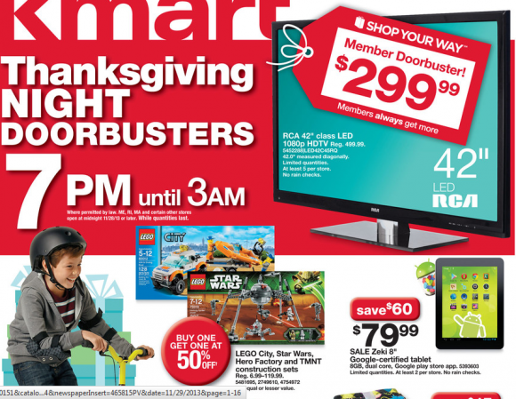 Kmart Black Friday Ad 2013. Sale begins 6 A.M. Thanksgiving with Additional Doorbusters at 7 p.m.