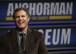 "Actor Will Ferrell speaks while being interviewed by Washington Post film critic Ann Hornaday (not pictured) at the Newseum during an event for ""Anchorman2: The Legend Continues"" in Washington Decembe"