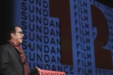 "Sundance Film Festival director John Cooper welcomes the audience before the opening night premiere of the documentary ""The Queen Of Versailles"" to begin the annual festival in Park City, Utah January"
