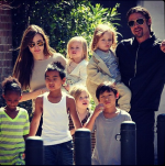 Angelina Jolie & Brad Pitt with adopted kids Maddox, Pax and Zahara, as well as their biological children, Shiloh, Knox and Vivienne