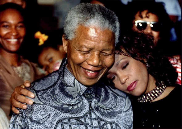 nelson-mandela-and-whitney-houston