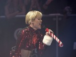 Singer Miley Cyrus performs during KIIS FM's Jingle Ball concert at the Staples Center in Los Angeles, California, December 6, 2013.