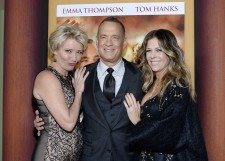 "Cast members Emma Thompson (L), Tom Hanks and his wife Rita Wilson (R) attend the film premiere of ""Saving Mr. Banks,"" at the Walt Disney Studios in Burbank, California, December 9, 2013."