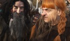 "People dressed up as dwarves film a promotional video for the ""The Hobbit: The Desolation of Smaug"" at Belvedere Castle in Central Park, New York November 30, 2013."