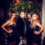 Adrienne Maloof at her Christmas party with guests
