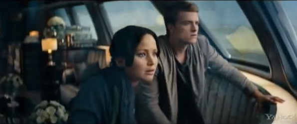 Jennifer Lawrence and Josh Hutcherson in a scene from 'Hunger Games:Catching Fire.' 'Mockingjay-Part 1' will open in theaters Nov. 2014