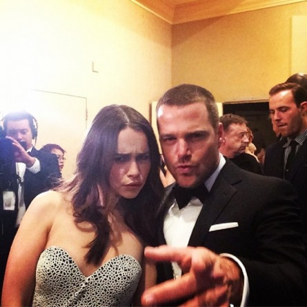 Chris O'Donnell and Emilia Clarke backstage at the 2014 Golden Globes