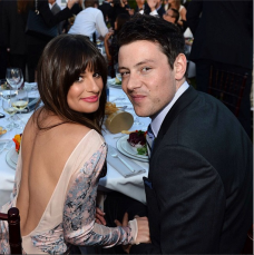 Lea Michele and Cory Monteith at an event before his death