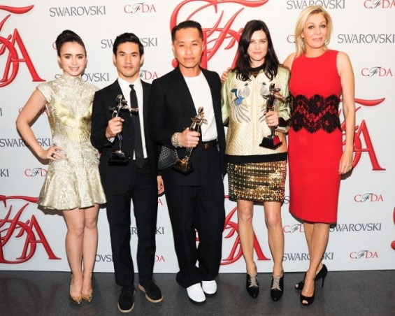 Lily Collins with Swarovski award winners Joseph Altuzarra, Phillip Lim, Tabitha Simmons. with Nadja Swarovski.