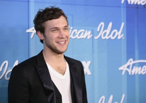 "Winner Phillip Phillips poses in the backroom after the 11th season finale of ""American Idol"" in Los Angeles, California May 23, 2012."