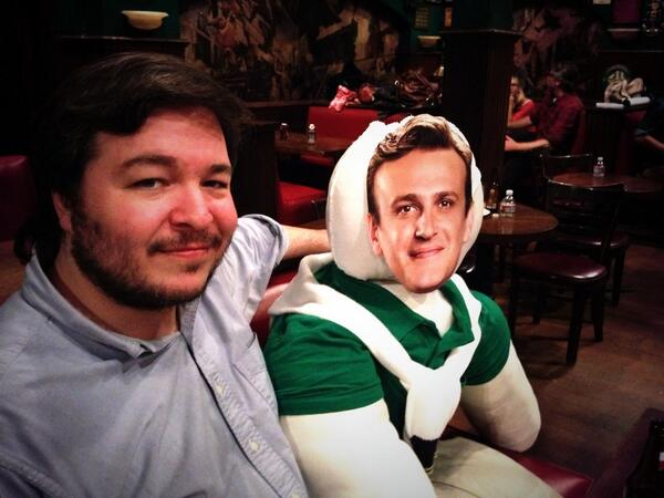 Carter Bays with The 'Marshpillow' from 'HIMYM' after shootinf for the series wrapped