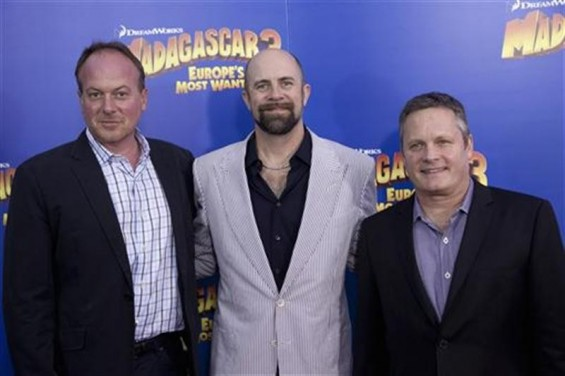 "Directors Tom McGrath (L), Conrad Vernon and Eric Darnell (R) arrive for the premiere of ""Madagascar 3: Europe's Most Wanted"", in New York June 7, 2012."