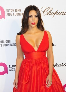 Kim Kardashian at Elton John's AIDS Foundation OScar Party