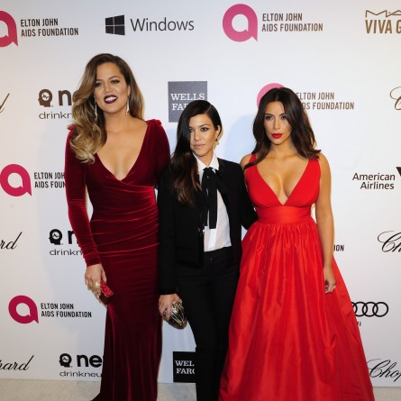 Kim Kardashian, Khloe, Kourtney at Elton John's AIDS Foundation OScar Party