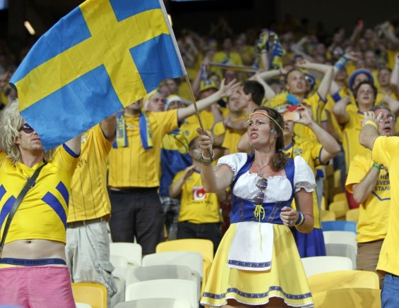 Sweden&#039;s fans cheer before their Group D Euro 2012 soccer match against Ukraine at Olympic Stadium in Kyiv, June 11, 2012.