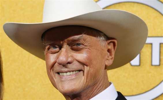 "Actor Larry Hagman from the TV series ""Dallas"" poses backstage at the 18th annual Screen Actors Guild Awards in Los Angeles, California January 29, 2012."