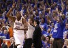 Oklahoma City Thunder's Kevin Durant (L) celebrates a three point basket against the Miami Heat during the fourth quarter in Game 1 of the NBA basketball finals in Oklahoma City, Oklahoma, June 12, 2012.