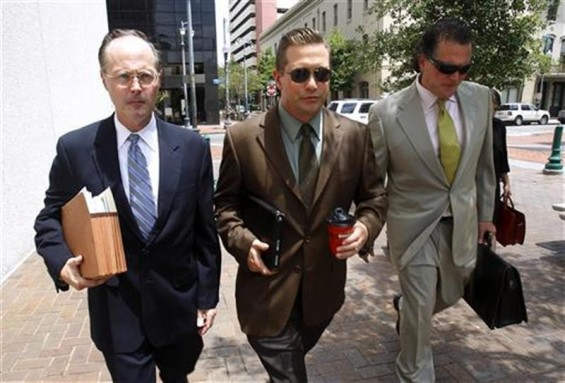 Actor Stephen Baldwin (C), arrives with his attorneys Timothy Madden (L) and Leo Palazzo at the New Orleans Federal Court House in New Orleans, June 4, 2012