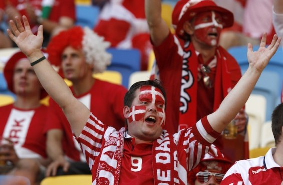 Denmark fans cheer before their Group B Euro 2012 soccer match against Portugal at the New Lviv stadium in Lviv June 13, 2012.